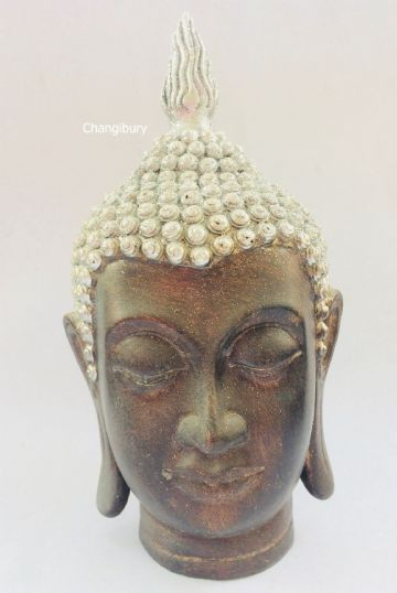 Silver Thai Buddha Head with Glitter 23cm Tall DF29837